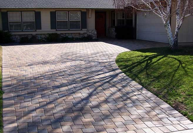 Driveway done with paver stones