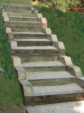 Pressure treated timber and gravel stairs